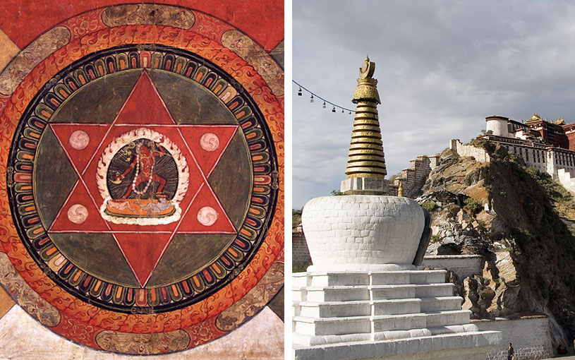 Painted 19th century Tibetan mandala of the Naropa tradition (Left). Chorten near Potala Palace, Lhasa, Tibet (Right).